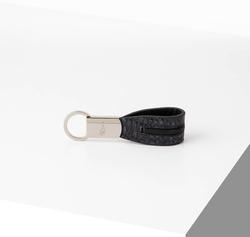 Rino - Unisex Hakiki Deri Anahtarlık Lacivert -Ortası Siyah