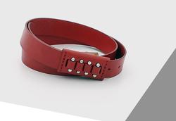 Rino - 3 cm Kadın Hakiki Deri Spor Kemer Kırmızı