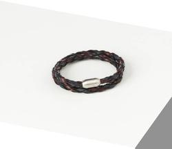 Rino - Unisex Hakiki Deri Bileklik Lacivert Bordo