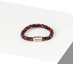 Rino - Erkek Hakiki Deri Bileklik Siyah Ve Kırmızı