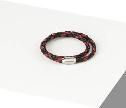 Rino - Unisex Hakiki Deri Bileklik Siyah Ve Kırmızı