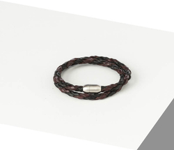 Rino - Unisex Hakiki Deri Bileklik Siyah Ve Bordo