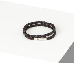 Rino - Unisex Hakiki Deri Bileklik Siyah Bordo