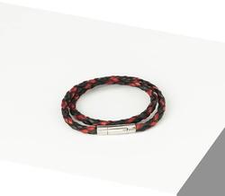 Rino - Unisex Hakiki Deri Bileklik Siyah Kırmızı