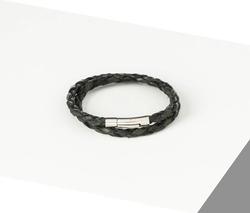 Rino - Unisex Hakiki Deri Bileklik Siyah Yeşil