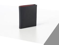 Rino - Unisex Hakiki Deri Cüzdan Lacivert-İçi Kırmızı