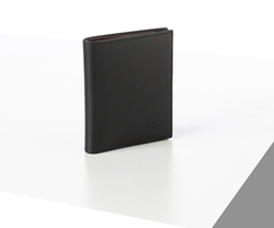 Rino - Unisex Hakiki Deri Cüzdan Siyah-İçi Bordo