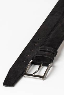 4 cm Erkek Chino Dikişli Süet Hakiki Deri Kemer Siyah