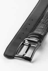 3.5 cm Erkek Çift Taraflı Klasik Hakiki Deri Kemer Siyah-Siyah - Thumbnail