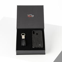 Rino - Unisex Telefon Kılıfı Anahtarlık Seti Siyah-HUAWEI P20 LITE