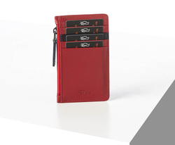 Rino - Unisex Hakiki Deri Kartlık Kırmızı-İçi Lacivert