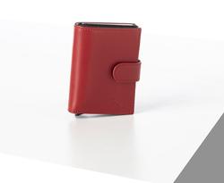 Rino - Unisex Hakiki Deri Kartlık Kırmızı-İçi Siyah