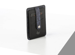 Rino - Unisex Hakiki Deri Kartlık Lacivert-İçi Siyah
