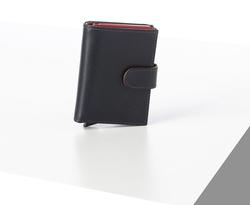Rino - Unisex Hakiki Deri Kartlık Lacivert-İçi Kırmızı