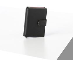 Rino - Unisex Hakiki Deri Kartlık Siyah-İçi Yeşil