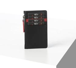 Rino - Unisex Hakiki Deri Kartlık Siyah-İçi Kırmızı