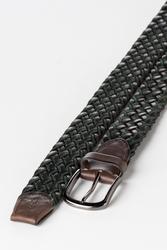 3.5 cm Erkek El Yapımı Örgülü Hakiki Deri Kemer Kahverengi - Thumbnail