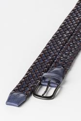 3.5 cm Erkek El Yapımı Örgülü Hakiki Deri Kemer Lacivert - Thumbnail