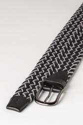 3.5 cm Erkek El Yapımı Örgülü Hakiki Deri Kemer Siyah - Thumbnail