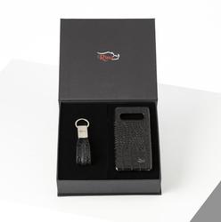 Rino - Unisex Telefon Kılıfı Anahtarlık Seti Siyah-Samsung S10