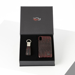 Rino - Unisex Telefon Kılıfı Anahtarlık Seti Bordo-I PHONE XR