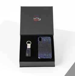 Rino - Unisex Telefon Kılıfı Anahtarlık Seti Lacivert - I PHONE XR