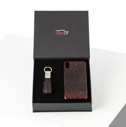 Rino - Unisex Telefon Kılıfı Anahtarlık Seti Bordo - I PHONE XS MAX